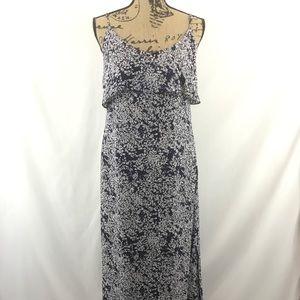 Joie Hydeia Tiered Silk Maxi Dress Navy White